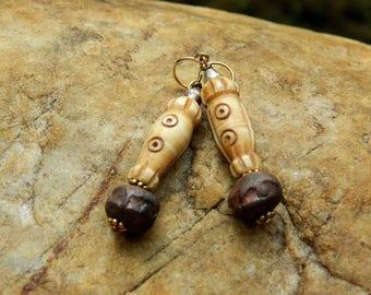 Rustic Carved Bone Earrings