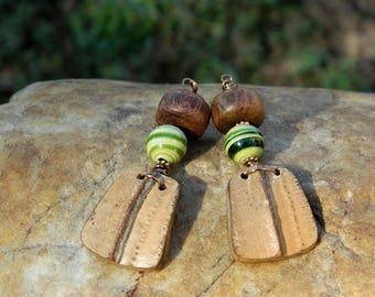 Green and Yellow Lampwork Bead Earrings