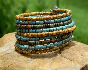 Picasso Czech Bead Boho Bangle