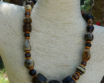 Tribal Batik Bone Bead Necklace