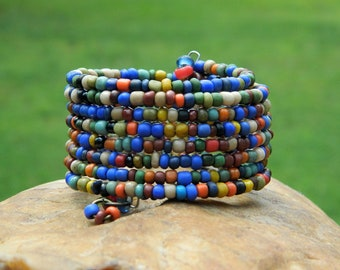 Fall Indonesian Bead Boho Bangle