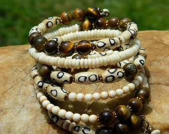 Tribal Batik Bone and Tiger Eye Gemstone Bead Bangle