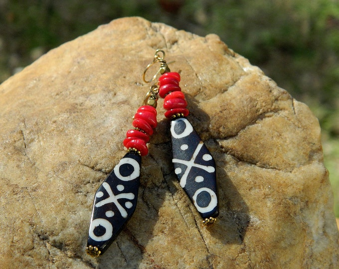 Featured listing image: Tribal Batik Bone and Red Coral Boho Earrings