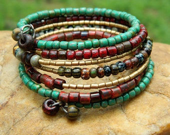 Aged Picasso Czech  Bead Bangle
