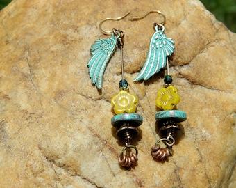 Angel Wings and Czech Bead Boho Earrings