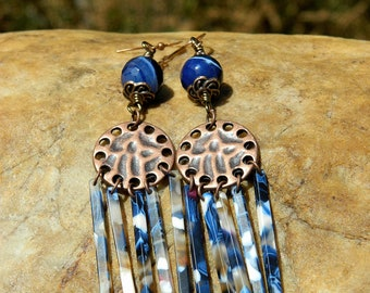 Boho Resin and Faceted Blue Agate Gemstone Earrings