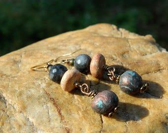 Rustic Bohemian  Bead Earrings