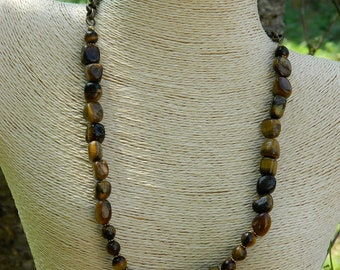 Tiger Eye Nugget Gemstone Bead Necklace
