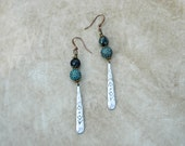 Faceted African Turquoise Gemstone Bead and Hammered Aztec Paddle Charm Earrings