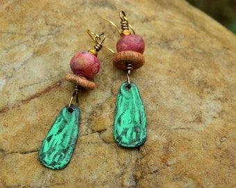Bohemian Stoneware Clay Bead Earrings