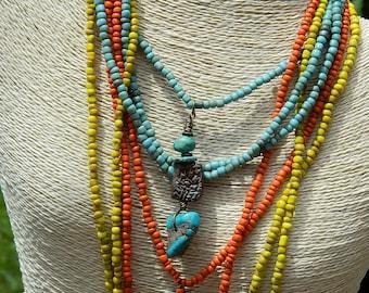 Multi-Strand Long Boho Necklace