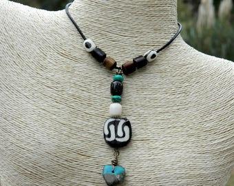 Batik Bone Boho Pendant Necklace