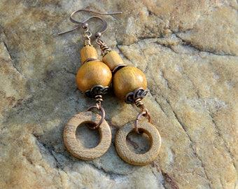Wood(Jackfruit) Bead Dangle Earrings