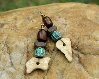 Natural Wood and Bone Bead Earrings