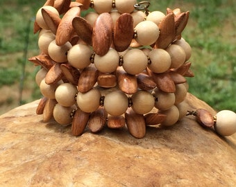 Natural Wood Bead Boho Bangle