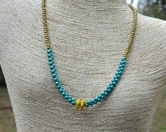Boho Czech Bead Choker Necklace