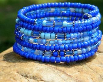 Blue Boho Coil Bangle
