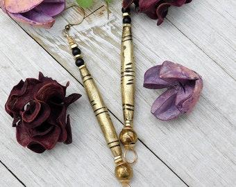 Cute Tuareg Brass Tube and Onyx Earrings