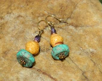 Czech Bead and Stoneware Clay Bead Earrings