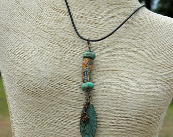 Mixed Media Boho Pendant Necklace