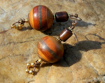 Wood and Bone Bead Afrocentric Earrings