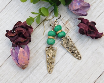 Unique African Brass Spiral Earrings