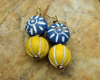 Boho Clay Bead Dangling Earrings
