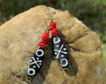 Tribal Batik Bone and Red Coral Boho Earrings