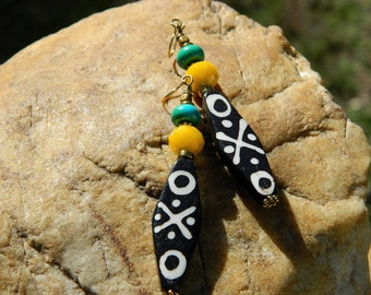Tribal Batik Bone and Turquoise Boho Earrings