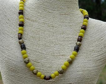 Sunflower Yellow Olombo Padre Bead Choker Necklace
