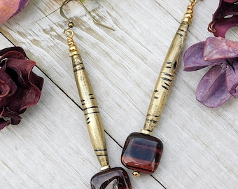 Square Red Tiger Eye and Tuareg Brass Tube Earrings