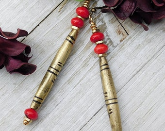 Red Coral and Tuareg Brass Tube Earrings