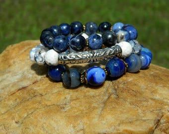 Boho Gemstone Bead Stretch Bracelets