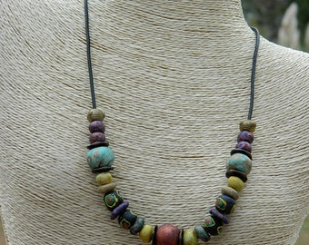 Stoneware Clay Beads and Africa Sandcast Bead Necklace