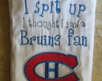 Montreal Canadiens inspired Sorry I Spit Up burp cloth