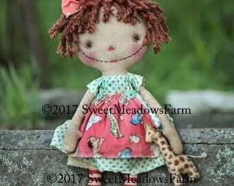 Primitive Annie and Giraffe Raggedy doll Epattern