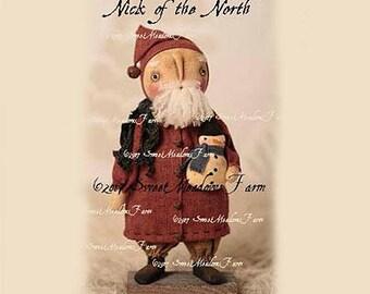 Nick of the North Primitive Santa EPATTERN Snowman ornie