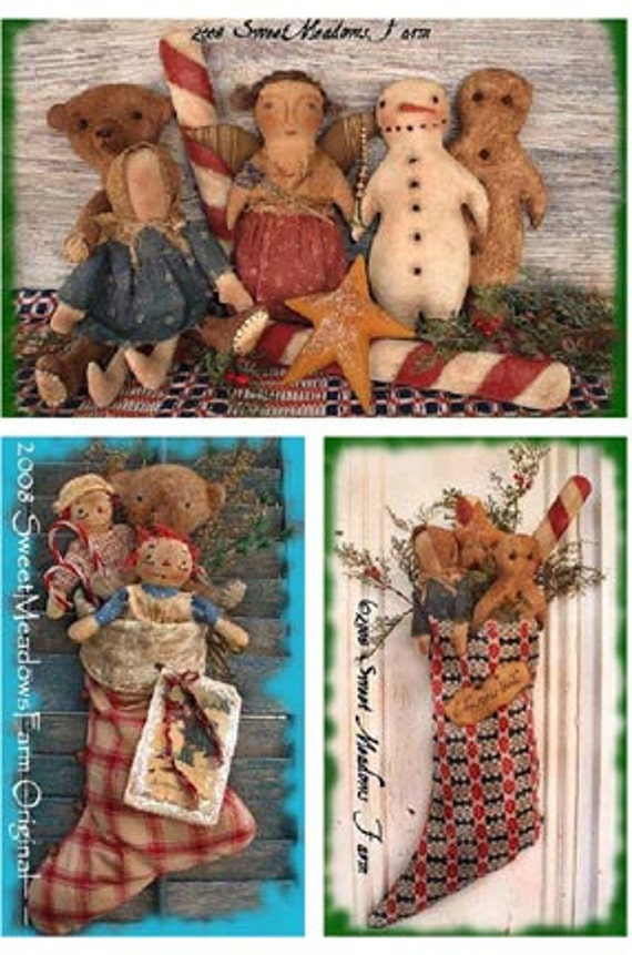 Primitive EPATTERN PDF 40 Stockings Ornies Gingerbread Angel Etsy Interesting Sweet Meadows Farm Patterns