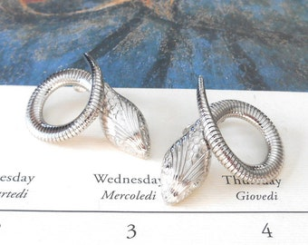 Vintage Coiled Silver Snake Clip-on Earrings - Coiled Snake, Hissing Snake Earrings, Forstner Snake Style, Figural