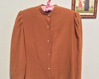 c3c844cbfbf7f0 Vintage brown silk blouse by Fenn, Wright, & Manson / size 0