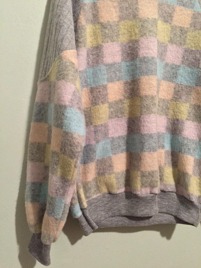 Vintage Allura soft pastel and gray checker pattern sweater