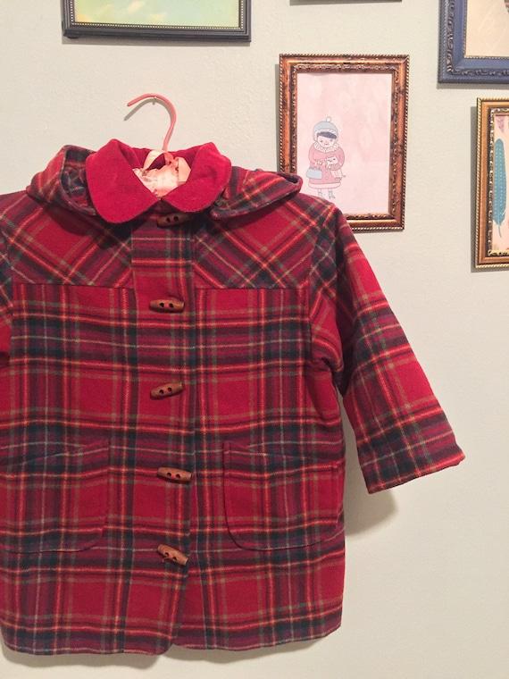 Vintage kid's plaid toggle duffel coat