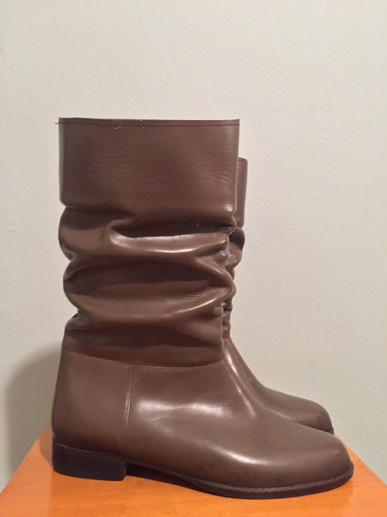 fa7b11d08 Vintage brown faux leather slouch boots / size 7 / made in USA   Etsy