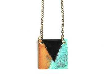 Enamel and Patina Square Necklace