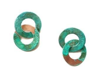 Double Circle Patina Earrings