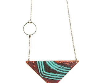 Triangle Enamel and Patina Circle Necklace