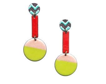 Colorful Enamel Dangle Earrings