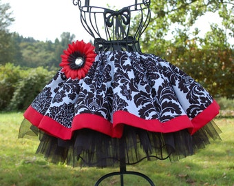 Absolutely Adorable Twirly skirt for your little princess  Damask print. s. 12 m, 2T, 3T, 4, 5, 6, 7, 8, 9, 10, 11, 12 , XS,