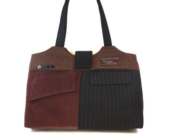 Oscar #3418 Large Carry-all Overnight Bag - Upcycled Large Tote - Repurposed Suit Travel Bag - Carry-on bag - Large Purse - Laptop Work Bag