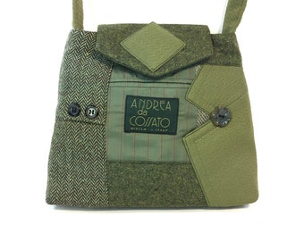 Little William #3218 - Recycled Suit Coat Handbag - Wool Shoulder Bag - Little Green Bag - Upcycled bag - Ecofriendly Purse - Gift for Her